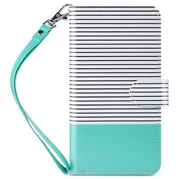 DCCKRQ5 iPhone 6 Plus Case, iPhone 6S Plus Wallet Case, ULAK Multi Card Holders Full Protection Magnetic Flip Wallet Cover with Wrist Strap for Apple iPhone 6 Plus and iPhone 6s Plus -Minimal Mint Stripes