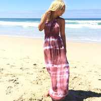 Lounge Tie Dye Maxi Dress In Mauve