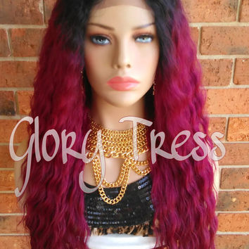 ON SALE// Custom Long Wavy Lace Front Wig, Ombre Burgundy Wig // SPECIAL (Free Shipping)