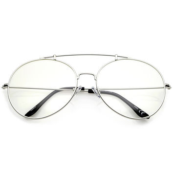 Oversize Euro Dapper Round Clear Lens Glasses A938