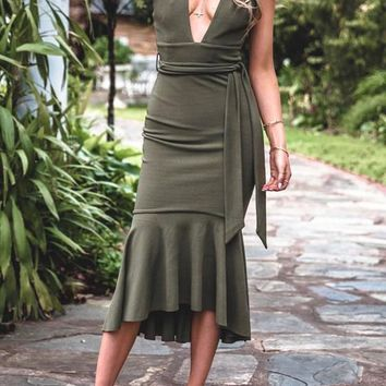 Army Green Sashes Ruffle Irregular V-neck Fashion Midi Dress