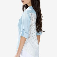 Lace Back Denim Shirt