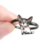 Baby Boston Terrier Puppy Shaped Adjustable Ring in Brown | Animal Jewelry
