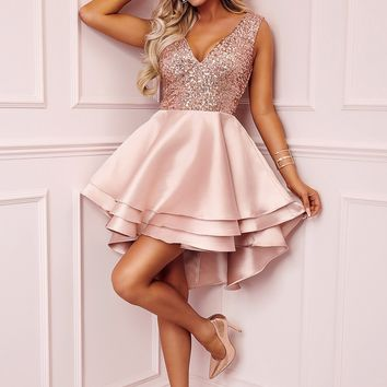 Chic Heart Broken Pink Gold Sequin Multi Layer Cocktail Party Skater Dress