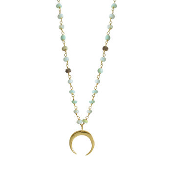 Chrysoprase Double Horn Necklace