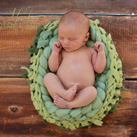 "Felted Wool Knit Basket Bowl Cocoon Pod  for Newborn or Pet Photography, Photo Props, ""Green"" Craft!"