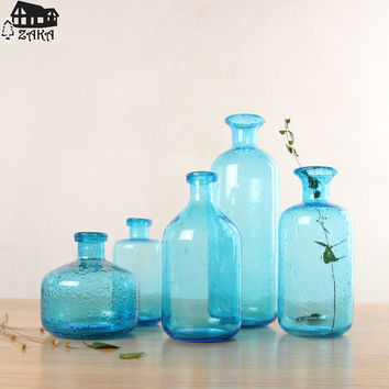 New arrival Zakka Nordic marine style blue bubble glass vases Hand-blown flower vases bedroom table vase Simple Home Decoration