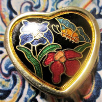 Heart Enamel Cloisonne Metal Pill Box Gift Mother's Day Birthday Collectibles Trinket Stash Box Purse Accessory