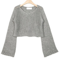 Gray Round Neck IKnit Crop Sweater