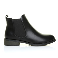 APRIL Black PU Leather Classic Low Heel Chelsea Ankle Boots