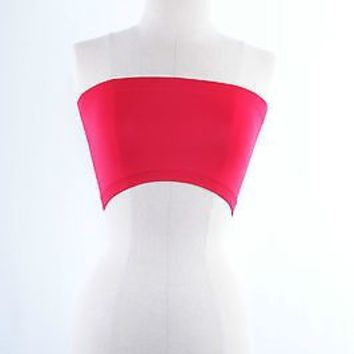 LADIES BASIC STRETCH SPORTS HOT TEE LINGERIE BANDEAU BRA MINI TUBE TOP One Size