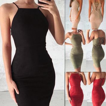 Sexy Bandage Dress Women Sleeveless Bodycon Mini Dress