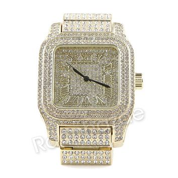 Men Iced Out Simulated Diamond Bling Gold Silver Plated Hip Hop Square Watch 21