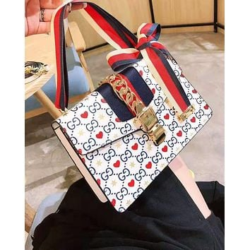 GUCCI hot seller of women's printed striped single shoulder bag with fashionable casual shopping bag