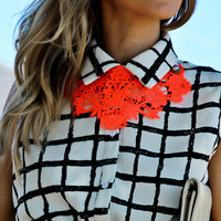 NEON ORANGE Tangelo crochet bib statement NECKLACE By designer Justyna G