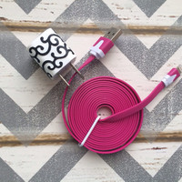 New Super Cute Black Glitter Scroll Designed USB Wall Connector + 10ft  Flat Hot Pink iPhone 5/5s/5c/6/6 Plus Cable Cord