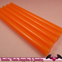5 Semi-Translucent Orange Mini Hot GLUE STICKS / Deco Sauce / Fake Icing / Nail Art Stick / Faux Wax Seals