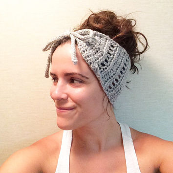 Crochet Headband Ear Warmer Bow Ladies Womens Winter Knit Grey Girls Bohemian Woodsy Cottage