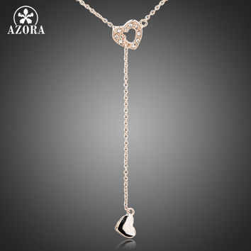 AZORA Heart Linked To Heart Rose Gold Plated Stellux Austrian Crystal Jewelry Pendant Necklace TN0082