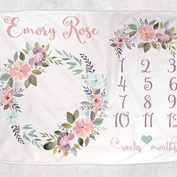 BOHO Baby Milestone Blanket, Watercolor Floral Blanket, Newborn Photo Backdrop, Flower Month Growth Chart, Personalized Baby Shower Gift