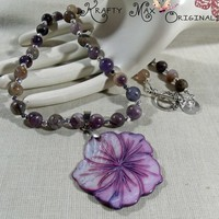 Purple Shell and Gemstone Simplicity Necklace and Earrings Set | KraftyMax - Jewelry on ArtFire