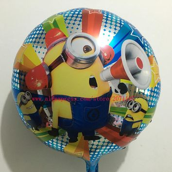 Lucky 10pcs/lot 18 inch Minion Foil Balloons Wedding Decoration Air Globos Party Baloons Supplies Mylar Helium Balloon LX0003