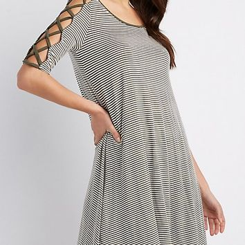 Lattice-Detail Striped Shift Dress | Charlotte Russe