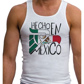 Hecho en Mexico Design - Mexican Flag Mens Ribbed Tank Top by TooLoud