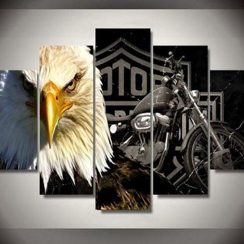 Eagles Motorcycle HD Canvas Prints 5 Pieces Painting Wall Art Home Decor Panels Sport Poster For Living Room Frame