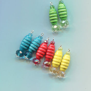 8 fluted wood bead drops pendants charms crystal glass beads mixed charm lot wooden pendants #supply2006
