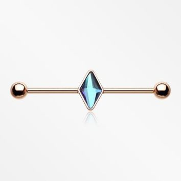 Rose Gold Vitrail Sparkle Industrial Barbell