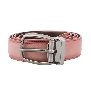 Dolce & Gabbana Pink Antique Leather Silver Buckle Belt