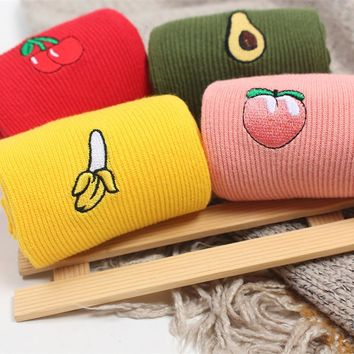 Stitched Fruits - Long Socks Funny Crazy Cool Novelty Cute Fun Funky Colorful