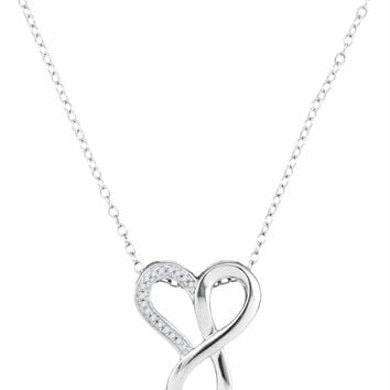 10kt White Gold Women's Round Diamond Heart Infinity Pendant Necklace 1-20 Cttw - FREE Shipping (US/CAN)
