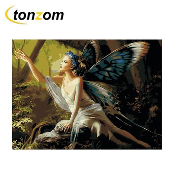 RIHE Butterfly Fairy Diy Painting By Numbers Forest Oil Painting Cuadros Decoracion Acrylic Paint On Canvas Modern Wall Art