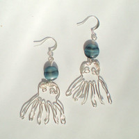 Octopus Earrings Dangling Silver Wire with Blue by stuffbyemily