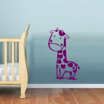 Wall decal decor decals art sticker giraffe animal cheerful funny cartoon hero heart nursery (m400)
