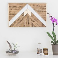 White and Gold Mountain Design Reclaimed Wood Wall Art