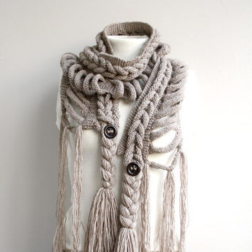 Free SHIPPING Milky Brown Wool  Scarf with Brown Button Christmas gift  UNDER 75USD For Her