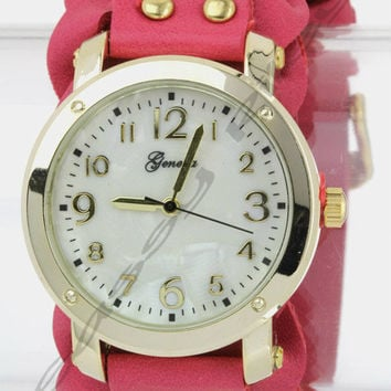 Faux Leather Woven Wide Band Watch -- 4 Colors to Choose From