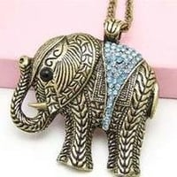 Elephant Necklace Ruby Blue Crystal Rhinestone Animal Ethnic Tribal Vintage Charm Pendant