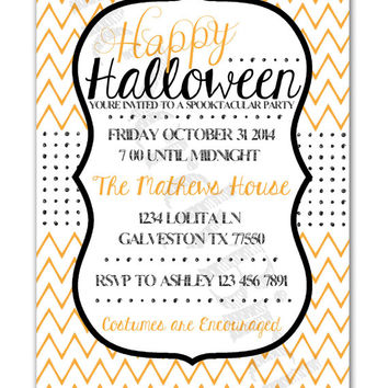 Orange and White Chevron and Black Polka Dots Happy Halloween Design Printable Invitation