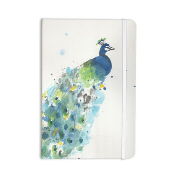 "Rebecca Bender ""Abstract Watercolor Peacock"" Blue Teal Everything Notebook"