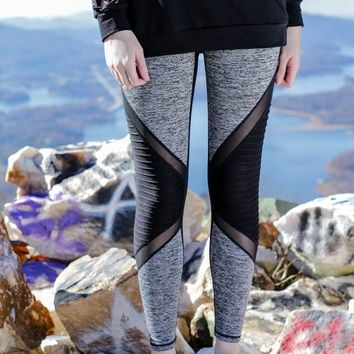 Color Blocked Moto Leggings, Black/Grey
