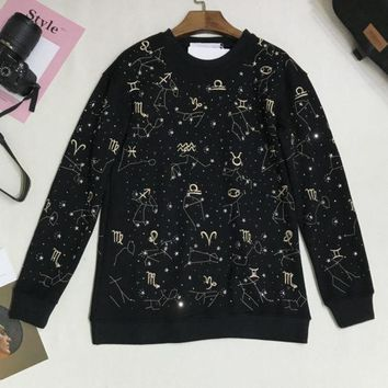 PEAPUF3 Givenchy Fashion Long Sleeve Top Sweater Embroider Sweatshirt