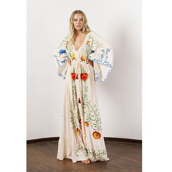 Summer Bohemian embroidery hollow out Holiday Maxi Dress V-neck vintage boho chic long dress floral pattern elegant dress