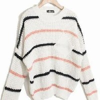 Stripe Cute Knitted Pullover