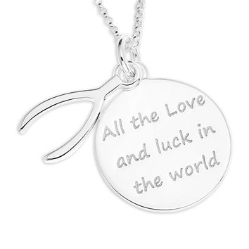 WISHBONE CHARM OVER ROUND MESSAGE DISC PENDENT  - STERLING SILVER
