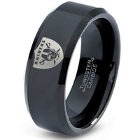 Oakland Raiders Ring Mens Fanatic NFL Sports Football Boys Girls Womens NFL Jewelry Fathers Day Gift Tungsten Carbide 084