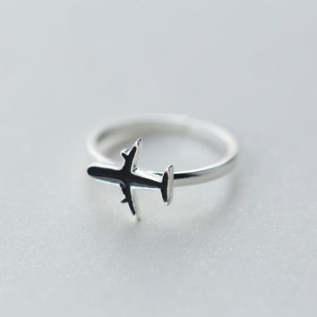 925 Sterling Silver Stylish Black Small Plane Open Ring Temperament Personality Ring J2818  171204